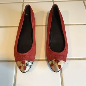 Burberry suede and check flats
